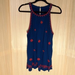Loft red embroidery tank top. Size large